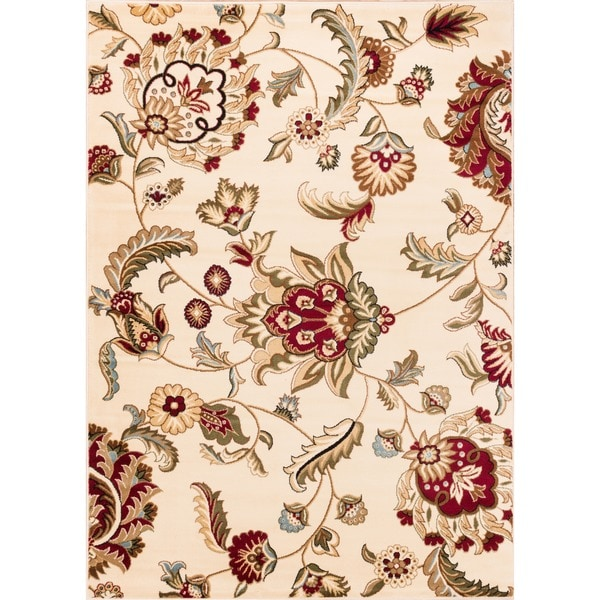 """Well Woven Oriental Floral Ivory Area Rug - 9'3"""" x 12'6"""""""