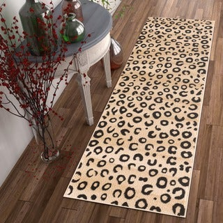 Well-woven Modern Leopard Animal Prints Black and Ivory Runner Rug (2' x 7'3)