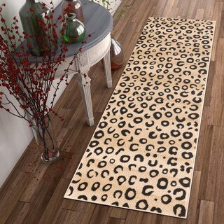 """Well-woven Modern Leopard Animal Prints Black and Ivory Runner Rug - 2' x 7'3"""""""