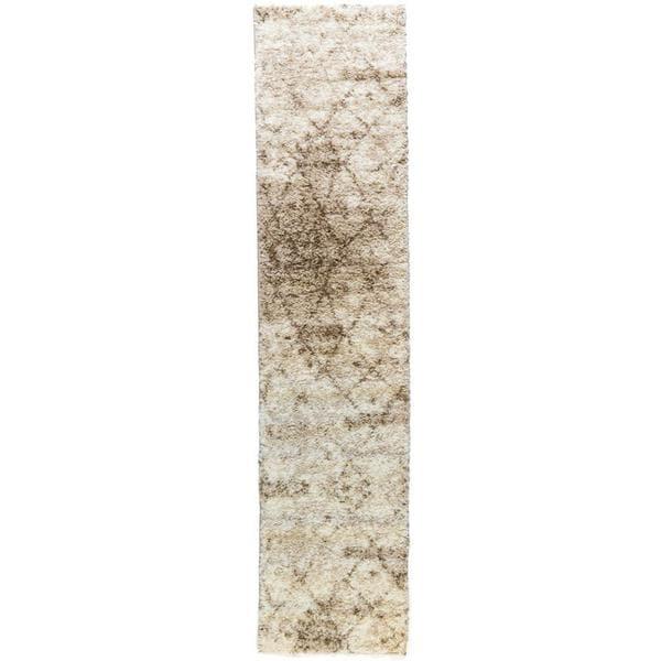 Shop Well Woven Moroccan Lattice Shag Vanilla Runner Rug