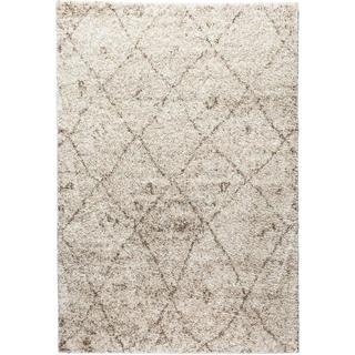 Moroccan Lattice Shag Vanilla Well-woven Super Plush Thick Ivory Beige Area Rug (3'3 x 5'3)