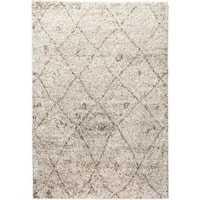 Moroccan Lattice Shag Vanilla Well-woven Super Plush Thick Ivory Beige Area Rug - 3'3 x 5'3