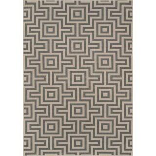 Indoor/ Outdoor Grey Retro Rug (2'3 x 4'6)