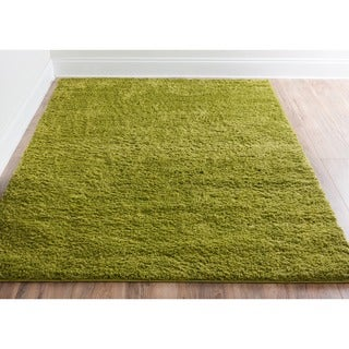 Plain Solid Shag Green Well-woven Area Rug (6'7 x 9'10)
