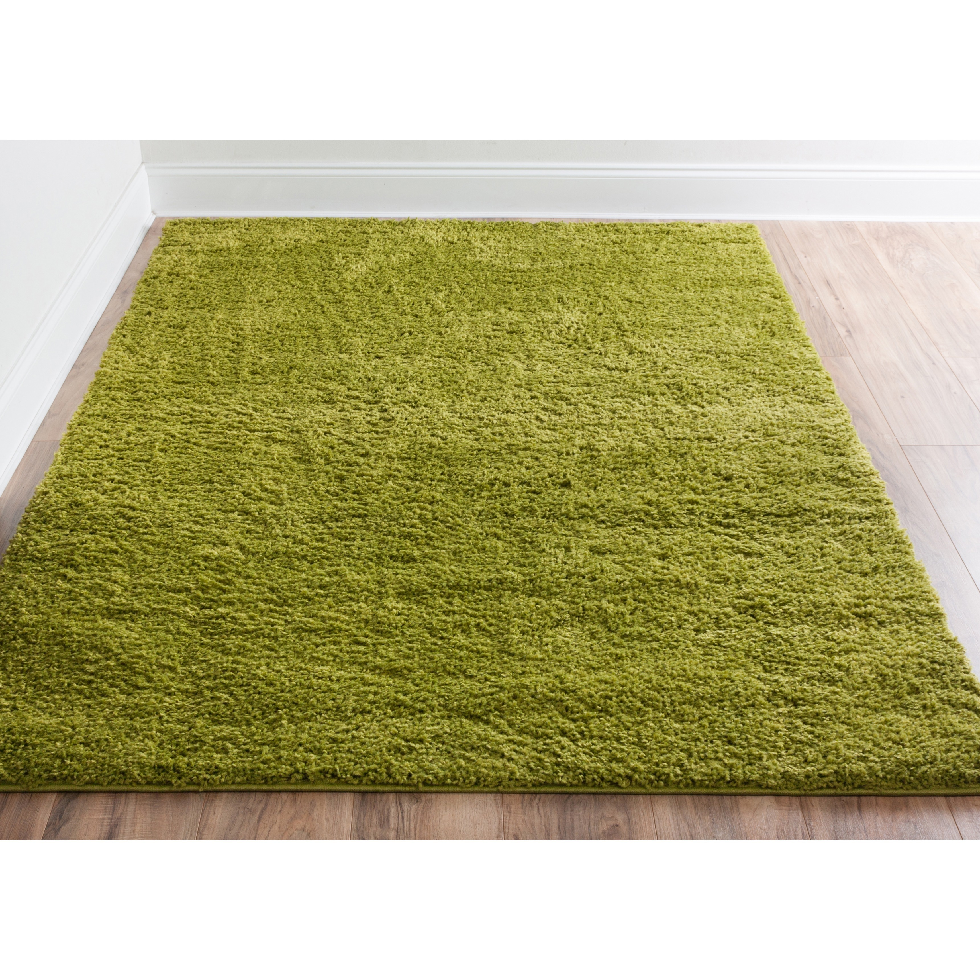 Plain Solid Green Area Rug