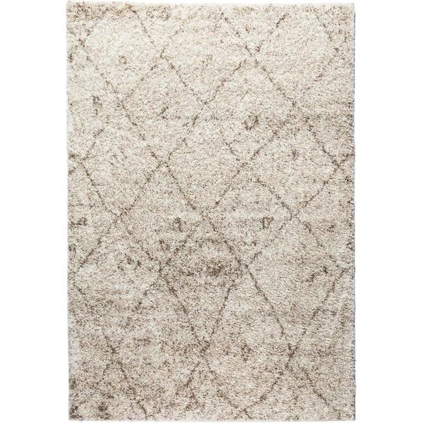 """Well Woven Moroccan Lattice Shag Vanilla Classic Diamond Trellis Pattern Area Rug - 5' x 7'2"""""""