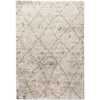 Well Woven Moroccan Lattice Shag Vanilla Classic Diamond Trellis Pattern Area Rug (5' x 7'2)