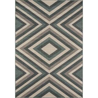 Indoor/ Outdoor Sage Zig-Zag Rug (1'8 x 3'7)