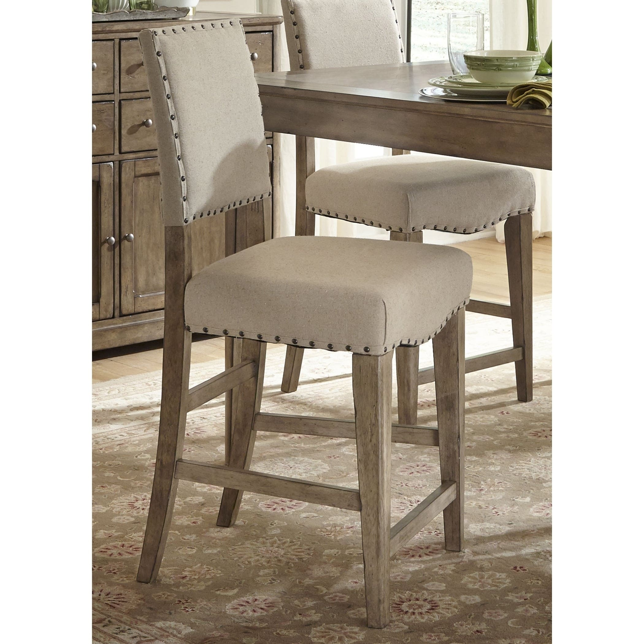Good Weatherford Brownstone Caramel Upholstered Counter Height Barstool
