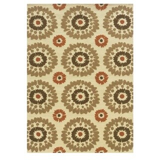 Linon Le Soleil Collection Ivory/ Rust Burst Outdoor Rug (2' x 3')