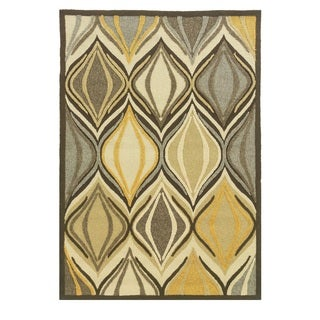Linon Le Soleil Collection Ivory/ Gold Cord Outdoor Rug (2' x 3')
