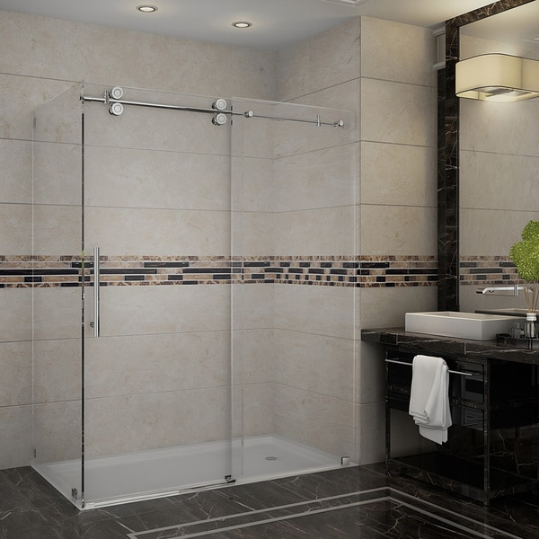 Aston Langham 60-in x 35-in x 75-in Completely Frameless Sliding Shower Enclosure in Chrome