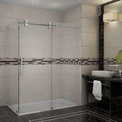 Aston Langham 60-in x 35-in x 75-in Completely Frameless Sliding Shower Enclosure in Chrome