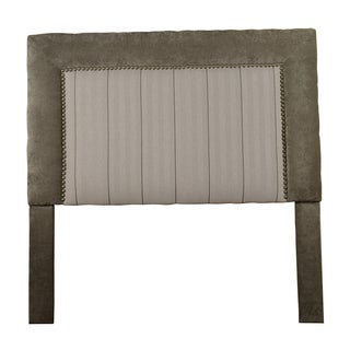 Somette St Kitts Queen/ Full-size Beige/ Green Upholstered Nailhead Trim Square Headboard