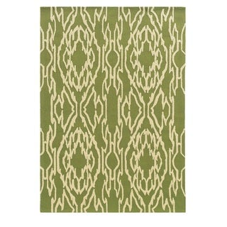 Linon Le Soleil Collection Green/ Ivory Ikat Outdoor Rug (2' x 3')