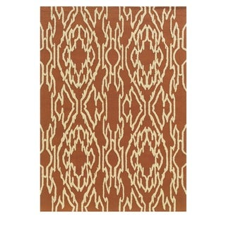 Linon Le Soleil Collection Rust/ Ivory Ikat Outdoor Rug (2' x 3')
