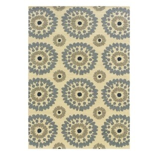 Linon Le Soleil Collection Ivory/ Blue Burst Outdoor Rug (2' x 3')