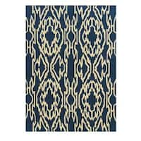 Linon Le Soleil Collection Blue/ Ivory Ikat Outdoor Rug (2' x 3')