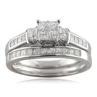 Montebello 14k White Gold 1 1/10ct TDW Princess-cut Invisible-set Diamond Bridal Set