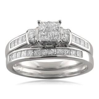 Montebello 14k White Gold 1 1/10ct TDW Princess-cut Invisible-set Diamond Bridal Set