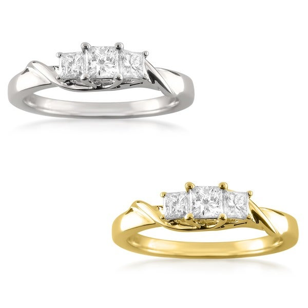 Montebello 14k Gold 1/2ct TDW Princess-cut Diamond Ring (H-I, I1-I2)