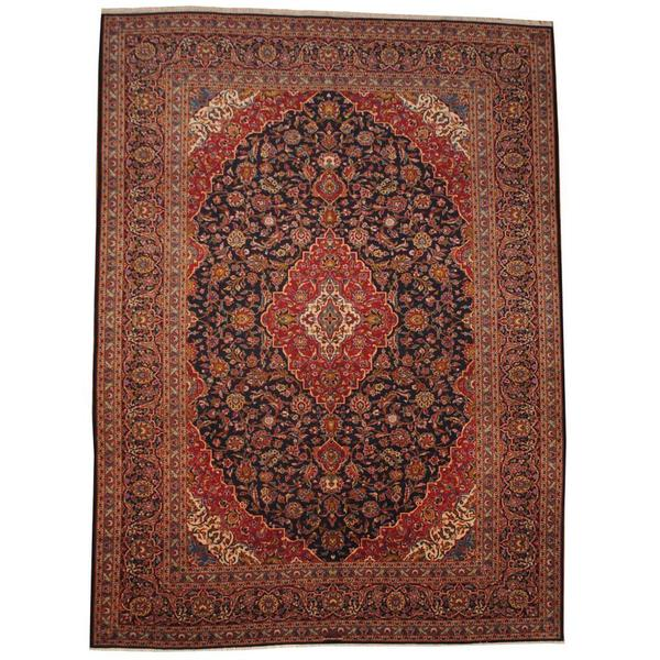 Herat Oriental Signature Semi-antique 1950's Persian Hand-knotted Kashan Navy/ Red Wool Rug (9'9 x 13'1) - 9'9 x 13'1