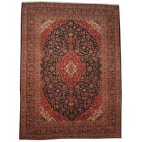 Herat Oriental Signature Semi-antique 1950's Persian Hand-knotted Kashan Navy/ Red Wool Rug - 9'9 x 13'1