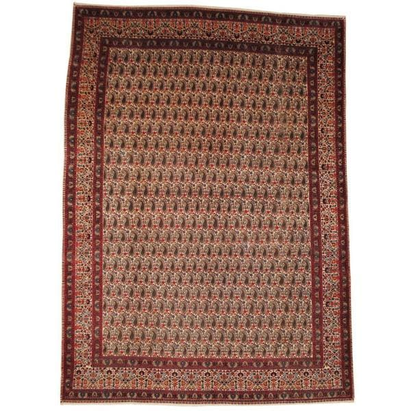Handmade Herat Oriental Semi-antique 1960's Persian Kashan Ivory/ Red Wool Rug - 9'2 x 13' (Iran)