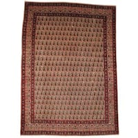 Handmade Herat Oriental Semi-antique 1960's Persian Kashan Ivory/ Red Wool Rug (Iran) - 9'2 x 13'