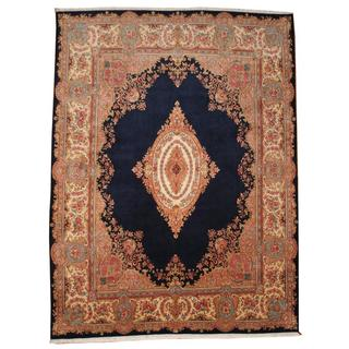 Herat Oriental Semi-antique 1950's Persian Hand-knotted Kirman Navy/ Ivory Wool Rug (10' x 13'1)
