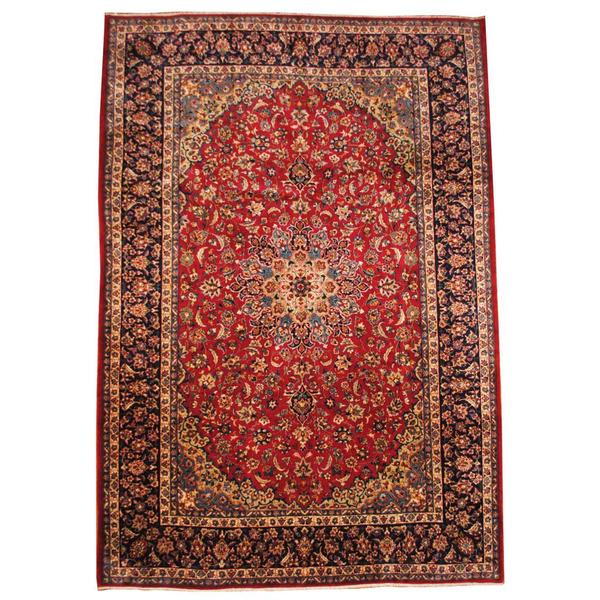 Hand Knotted Persian Isfahan Wool Area Rug: Shop Herat Oriental Semi-antique 1960's Persian Hand