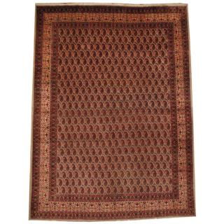 Herat Oriental Semi-antique 1940's Persian Hand-knotted Kashan Ivory/ Red Wool Rug (10' x 13')