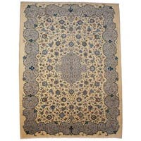 Herat Oriental Semi-antique 1940's Persian Hand-knotted Kashan Beige/ Navy Wool Rug (9'7 x 12'10)