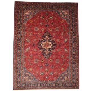 Herat Oriental Semi-antique 1960's Persian Hand-knotted Sarouk Red/ Navy Wool Rug (9'9 x 13')