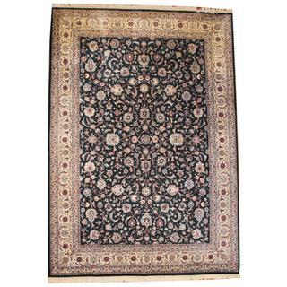 Herat Oriental Asian Hand-knotted Tabriz Dark Green/ Ivory Wool Rug (9'10 x 13'10)