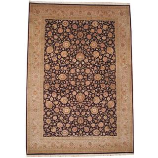 Herat Oriental Asian Hand-knotted Tabriz Purple/ Brown Wool Rug (9'6 x 13'7)