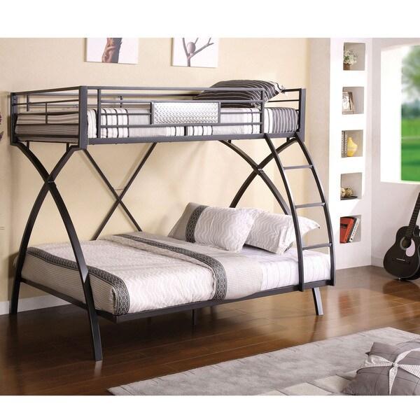 Furniture of America Rexeno Gun Metal Twin Over Full Bunk Bed Free