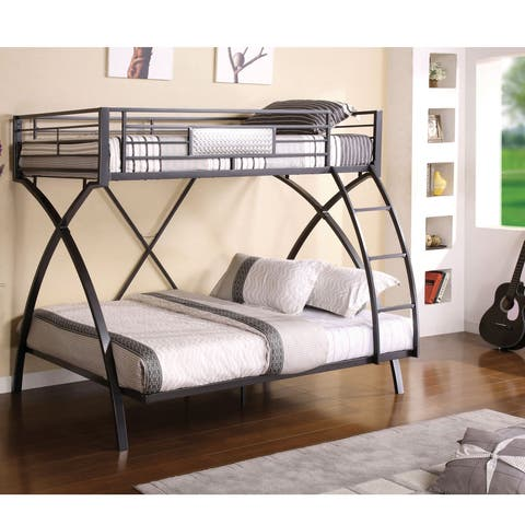 Rexeno Transitional Twin Over Full Gunmetal Bunk Bed By Foa
