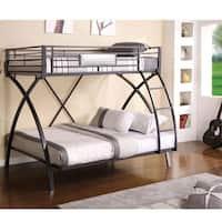 Furniture of America Rexeno Gun Metal Twin Over Full Bunk Bed