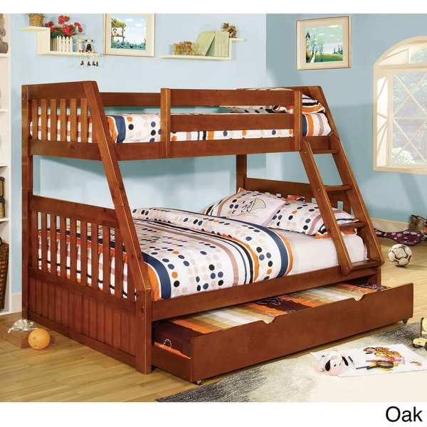 Furniture of america perthe mission style twin over full for Furniture of america pello full over full slatted bunk bed
