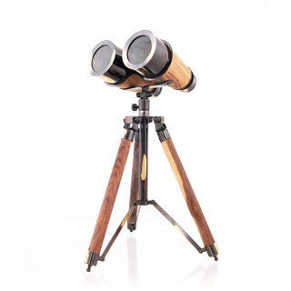 Wood/Brass Binocular On Stand Decorative Accent