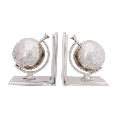 Polished Nickel Aluminum Globe Bookends (Set of 2)