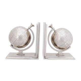 Polished Nickel Aluminum Globe Bookends (Set of 2)