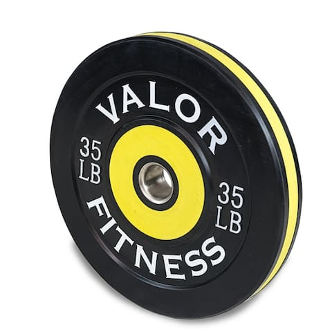 Valor Fitness BPP Rubber Olympic Bumper Weight Plates for Barbells, Ideal for Strength and Conditioning, and Weightlifting