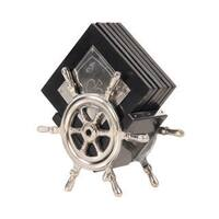 Alum/ Wood Ship' Wheel Coasters (Set of 6)