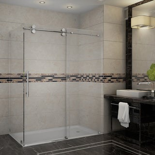 Aston Langham 60-in x 35-in x 75-in Completely Frameless Sliding Shower Enclosure in Stainless Steel