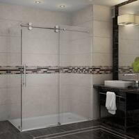 Aston Langham 60-in x 35-in x 75-in Completely Frameless Sliding Shower Enclosure in Stainless Steel