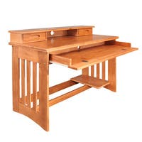 Honey Solid Pine Student Desk and Hutch