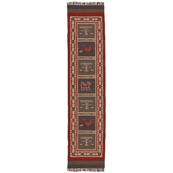 "Hand-woven Tribal Wool & Jute Runner Rug (2'6' x 12') - 2'6"" x 12'"