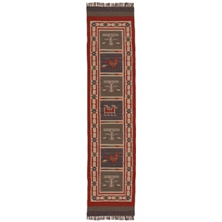 Hand-woven Tribal Wool & Jute Runner Rug (2'6' x 12')